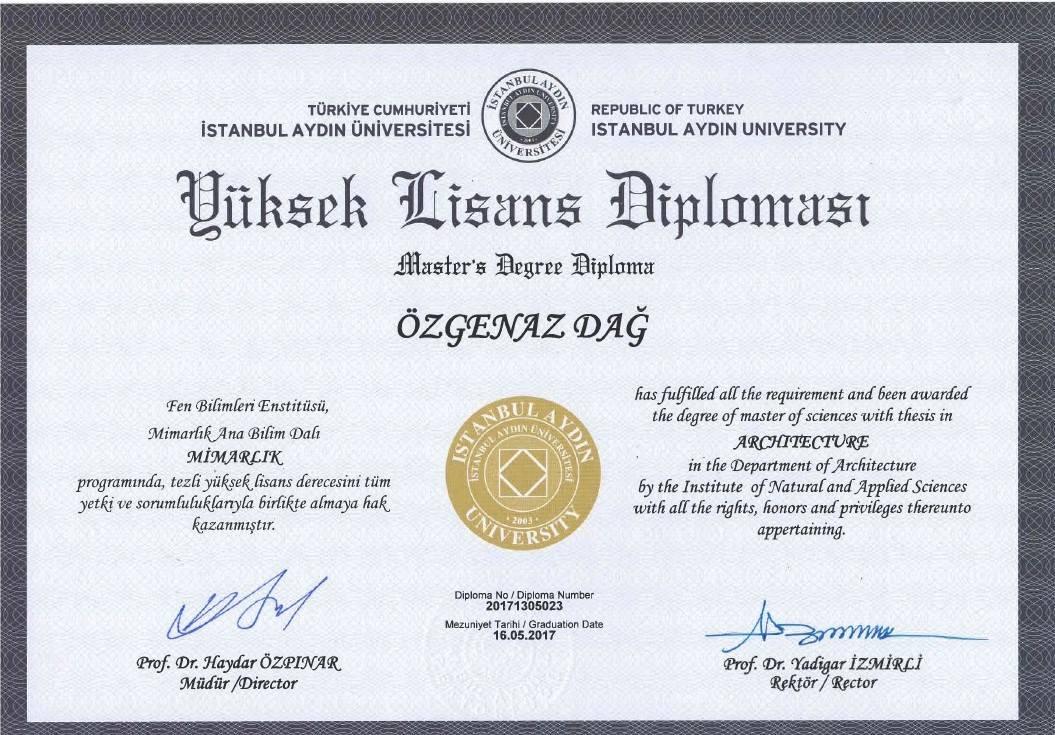 Mimarlık Yüksek Lisans Diploması